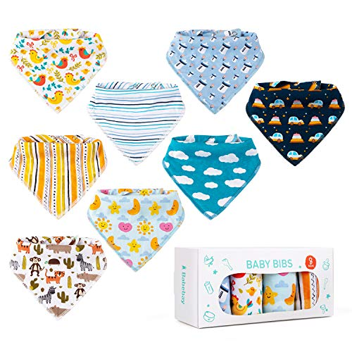 Baby Bibs,8 Packs Baby Bandana Drool Bibs, Unisex Stylish Design Teething Bib for Boys & Girls, Highly Absorbent Soft 100% Organic Cotton with Adjustable Snaps for Teething (Best Bandana Bib Pattern)