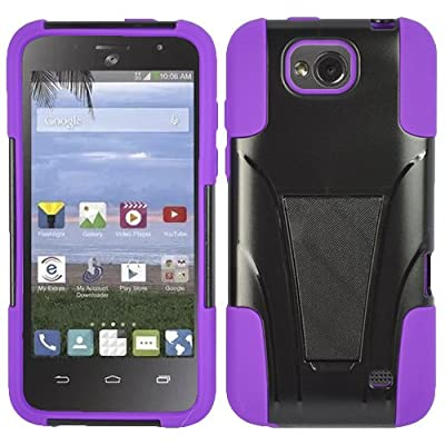 Straight Talk Prepaid ZTE Atrium Z793C / Scend LTE Z791G case, Purple Hybrid Case With Kickstand from HR Wireless