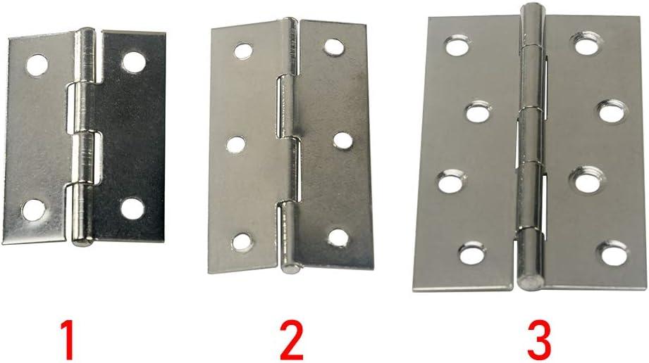 bisagras de acero inoxidable para puerta de fuego interior y exterior 4 pares de bisagras de puerta de 2//3//4 pulgadas para puertas interiores plateado