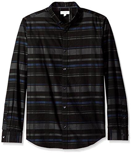Calvin Klein Men's Long Sleeve Tonal Button Down Chambray Shirt, Black, Medium (Tonal Plaid Shirt)
