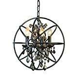 Foucault's Orb Smoke Crystal Chandelier 14'', Industrial Vintage Retro LOFT style wrought iron Metal Globe Cage Round Pendant Lamp Fixture Pendant Light