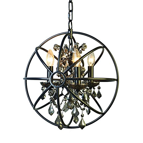 Foucault's Orb Smoke Crystal Chandelier 14'', Industrial Vintage Retro LOFT style wrought iron Metal Globe Cage Round Pendant Lamp Fixture Pendant Light by Decomust Dot Com