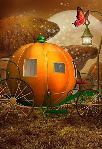 CdHBH 10x12ft Pumpkin Carriage Fairy Cinderella Photo Background Butterfly Lantern Dreamland Mushroom Portrait Clothing Photo Photography Background Cloth Photo Studio Photo Photography Background