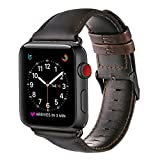 Apple Watch Band 42mm, OUHENG Retro Vintage Genuine Leather iWatch Strap Replacement for Apple Watch Series 3 Series 2 Series 1, Dark Brown with Black Adapter image