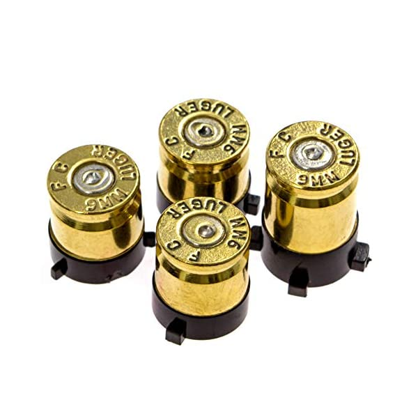 Xbox One Bullet Buttons Raplacement A B X Y Real Bullet Brass Casings Gold Brass w/ Silver Nickel Primer 1