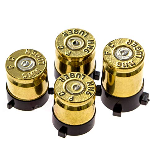 (Xbox One Bullet Buttons Raplacement A B X Y Real Bullet Brass Casings Gold Brass w/ Silver Nickel Primer)