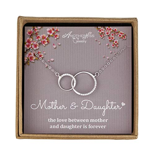 Mother Necklace Silver Mothers Necklace - AnotherKiss Mother Daughter Necklace - Sterling Silver 2 Circle Infinity Necklace, Mothers Day Jewelry Birthday Gift