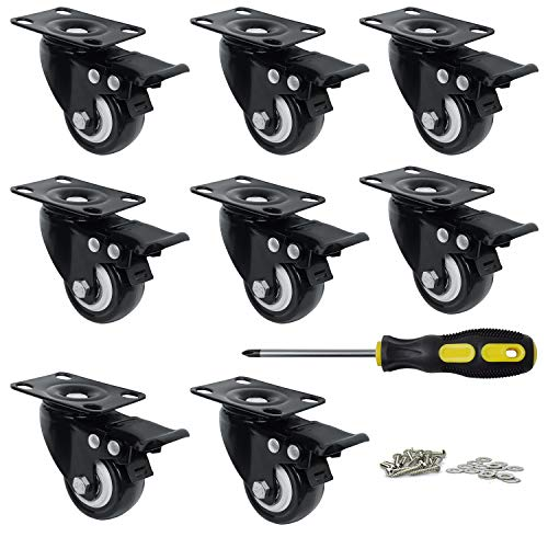 Heavy Duty Swivel Plate Casters with Brake Lock, Mysit 2