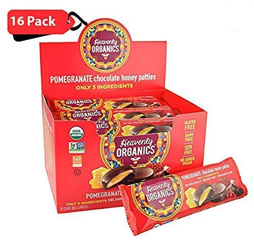 Heavenly Organics Pomegranate Chocolate Honey Patties (16 Per Box) Made with 100% Organic Cocoa and 100% Organic Raw White Honey; Non-GMO, Fair Trade, Kosher, Dairy & Gluten Free, No Sugar Added