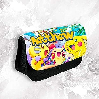 Estuche personalizado con cualquier nombre de Pokemon para maquillaje, escuela, niños, papelería 1: Amazon.es: Oficina y papelería
