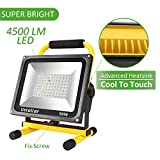 Ustellar 4500LM 50W LED Work Light (400W Equivalent), 2 Brightness Levels, Waterproof Flood Lights, 16ft/5M Cord with Plug, Stand Working Lights for Workshop, Construction Site, 6000K Daylight White