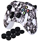 Cheap YoRHa Water Transfer Printing Skull Silicone Cover Skin Case for Microsoft Xbox One X & Xbox One S controller x 1(white) With PRO thumb grips x 8