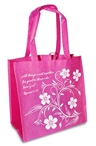 Work All Things Good Romans 8:28 Pink Reusable 12 x 12 Eco Friendly Tote Bag