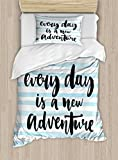 Ambesonne Adventure Duvet Cover Set Twin Size, Every Day is a New Adventure Quote Inspirational Things About Life Artwork, Decorative 2 Piece Bedding Set with 1 Pillow Sham, Baby Blue Black