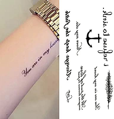 Oottati Pequeño Lindo Tatuaje Temporal Ancla Palabra Inglesa ...