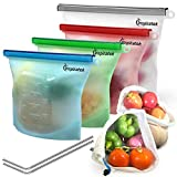 Reusable Silicone Food Bags (Large and Small, Set of 4) + Bonus Stainless Steel Straws & Produce Storage Bags - Insulated Plastic Lunch Bag - Baggies for Sandwich, Kids, Snack, Freezer Dishwasher Safe
