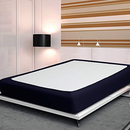 Twin Six Fashion Bed Box Spring Cover with Plush Premium Elastic Mattress Cover Queen\King (Queen, Navy Blue)