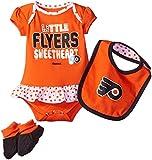 "NHL Infant Flyers ""Little Sweet"" Creeper, Bib & Bootie, 24 Months, Varsity Orange"