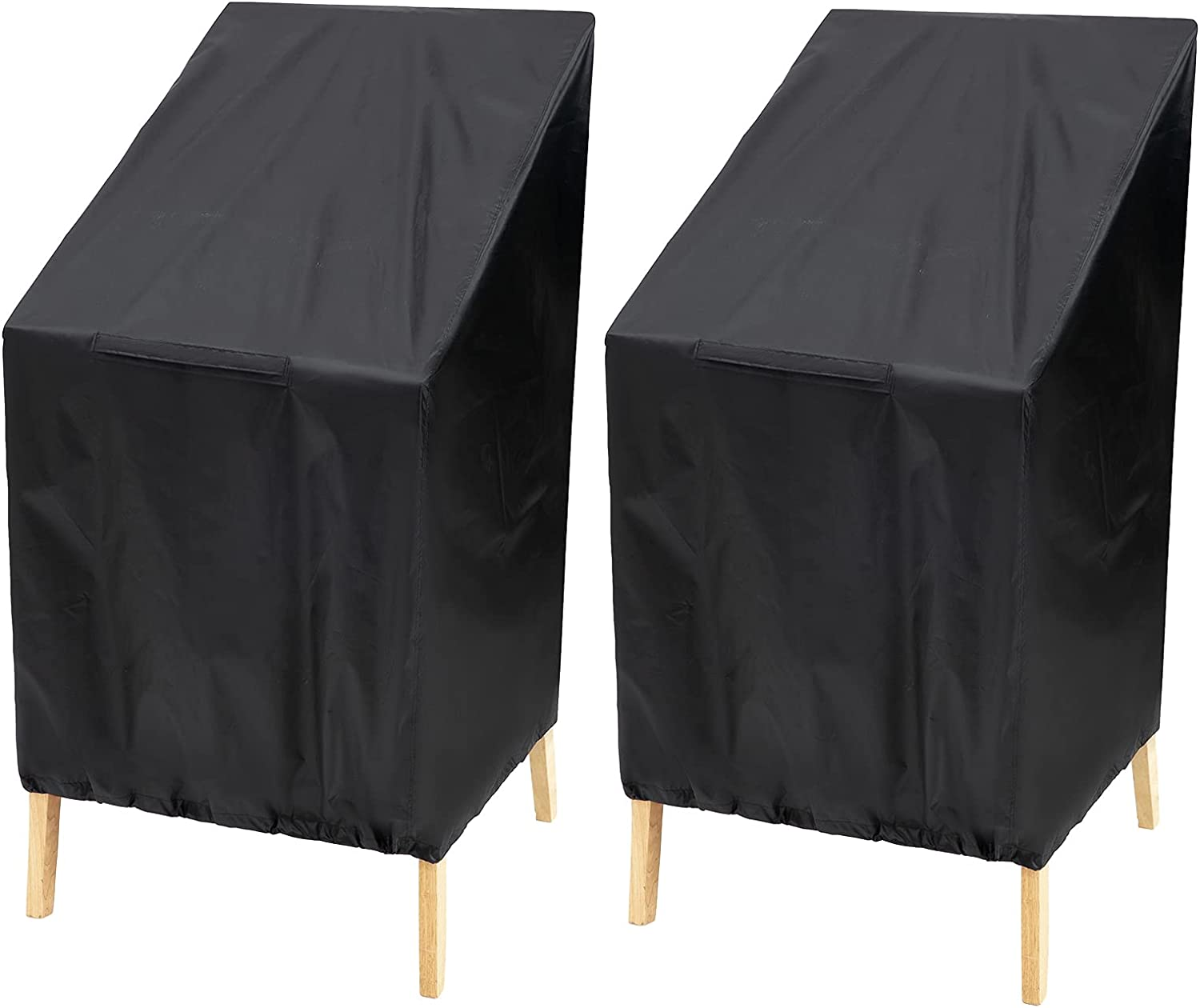 BILIENTE 2 Pack Waterproof Stackable Patio Chair Covers Classic Outdoor Garden High Back Windproof UV Protection Furniture Bar Stacking Chair Cover 25W x 25D x 27.5-47H inch Black