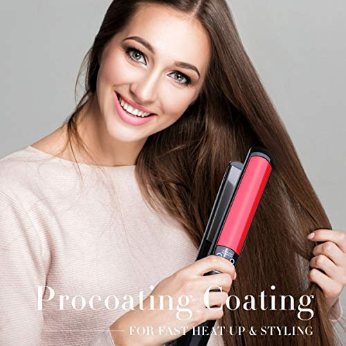 Hair Straightener and Curler,Titanium Plates Hair Straightener LCD Display Straightening Iron MCH Fast Heating Curling Iron Flat Iron Salon Styling Tools BlackRed
