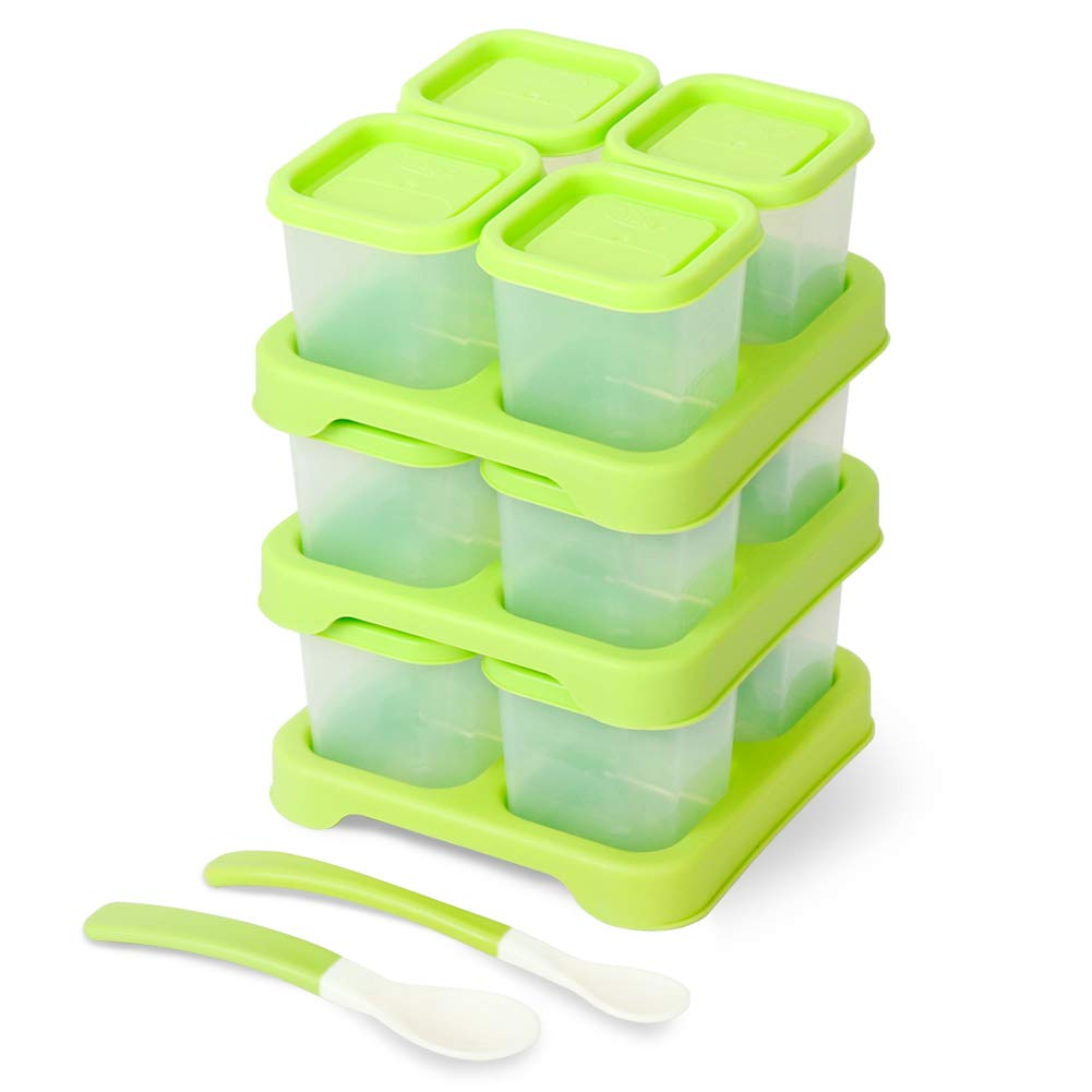 Matyz Baby Set of 12 Food Freezer & Storage Containers with Clip-On Lid (4oz Each, Green) - Stackable Tray Save Space - Easily Portion, Store, Freeze, Carry, Heat & Serve The Homemade Food