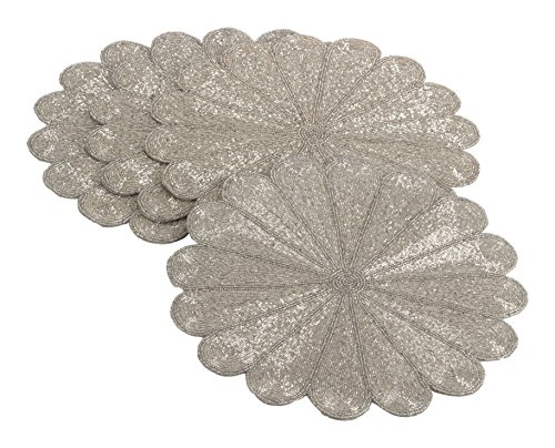 SARO LIFESTYLE 201.S15R Flower Design Beaded Placemat, Silver, 15