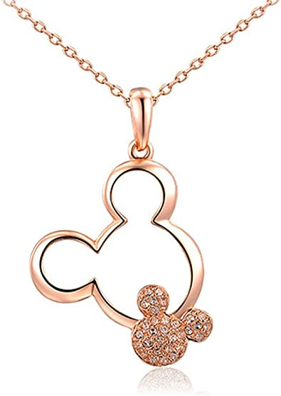 D-Fashion-x Disney Official Mickey Mouse Elegant Long Necklace Stainless Steel Jewelry for Women /& Girls