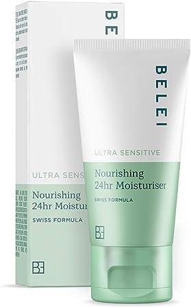 Marca Amazon - Belei Crema hidratante nutritiva 24horas para pieles ultrasensibles, 50ml