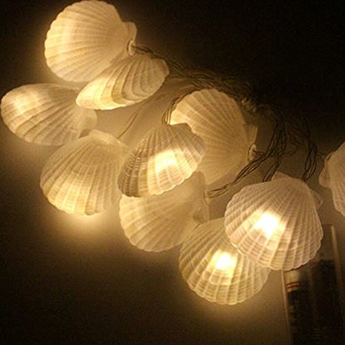 Dreamworth Shell String Lights, 5 ft Shell Shapped Light with 10 LEDS, Battery Powered Sea Shell String lights for Christmas Halloween Bedroom,Garden,Party Decoration(Warm White)