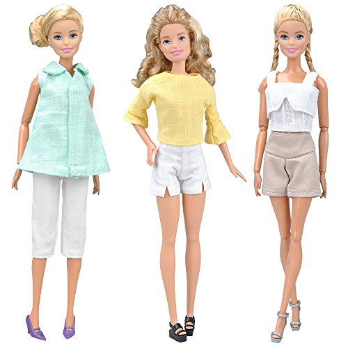 E-TING Handmade Doll Clothes Office Style Wears Casual Clothing for Girl Dolls (3 Sets Linen/Cotton Blended Fabric Clothing)