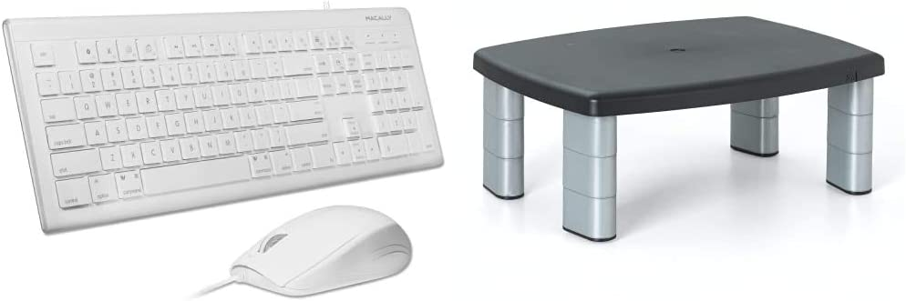 Macally 104 Key USB Wired Keyboard and Mouse Combo with Apple Shortcut Keys, White & 3M Adjustable Monitor Stand Riser, Three Leg Segments Simply Adjust Height, Sturdy Platform, Silver/Black