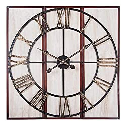 Utopia Alley 3-Piece Oversized Roman Square Wall Clock 32 Wood Finish