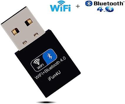 Dongle Bluetooth WiFi, Adaptador de Red USB inalámbrico para computadora/portátil/PC, Compatible con Windows 7/8/8.1/10/XP/Vista