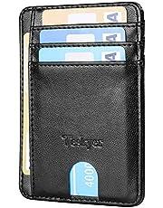 Teskyer Credit Card Holder, Small Slim Minimalist Wallets For Women Men, Front Pocket Rfid Blocking Leather Secure Thin ID Wallets Case