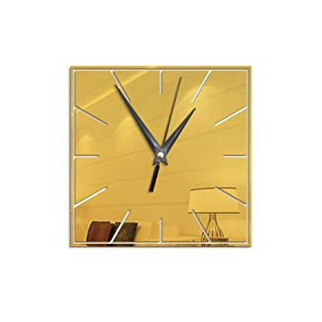 HomeClock Moda Reloj de Pared Digital Cuadrado salón de diversión decoración Reloj de Pared Creativo Espejo Reloj de Pared Oro: Amazon.es: Hogar