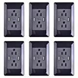 NineLeaf 6PK 2A High Speed USB Charger Receptacle 15A Outlet w 2 Wall Plates (Black) AC Wall Screwless Wallplate with Dual USB Charging Ports