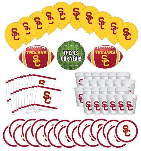 Usc Party Supplies (Mayflower Products USC Trojans Football Tailgating Party Supplies for 20 Guest and Balloon Bouquet)