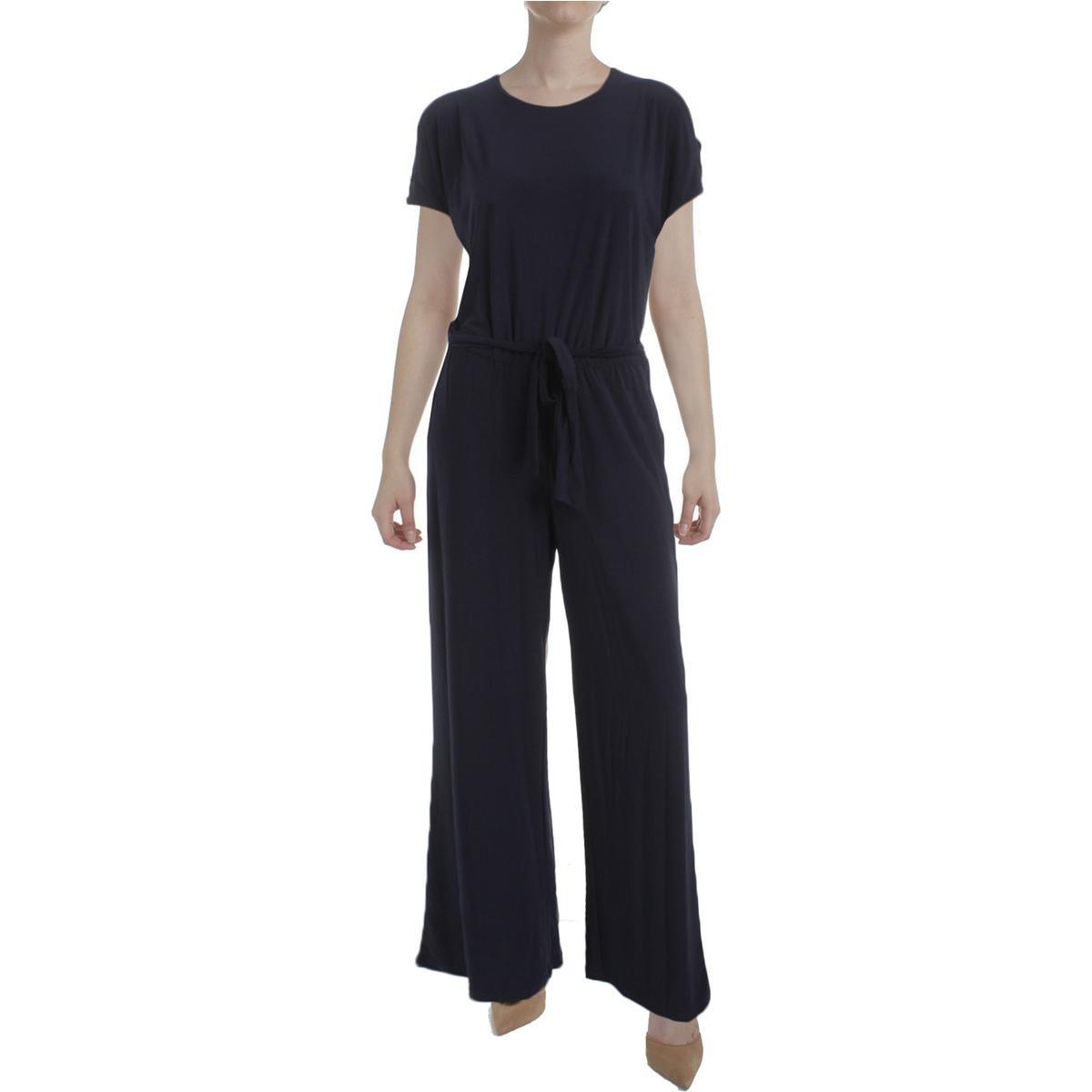 Lauren Ralph Lauren Womens Sancia Cold Shoulder Matte Jersey Jumpsuit Navy L