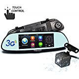 Hikity 1080P Full HD Rearview Mirror Monitor Wifi 3G Car DVR with GPS Navigation, Bluetooth, 7 Touch Screen Dash Camera + Digital Rear View Camera, Waterproof IP67 Android 5.0 System