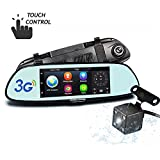 Hikity 1080P Full HD Rearview Mirror Monitor Wifi 3G Car DVR with GPS Navigation, Bluetooth, 7' Touch Screen Dash Camera + Digital Rear View Camera, Waterproof IP67 Android 5.0 System