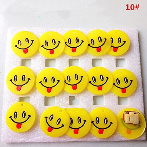 Faironly 15 Pcs Cute Cartoon Flashing LED Brooch Pin Multiple Expressions Lighting Badge Kids Children Toys Red Tongue