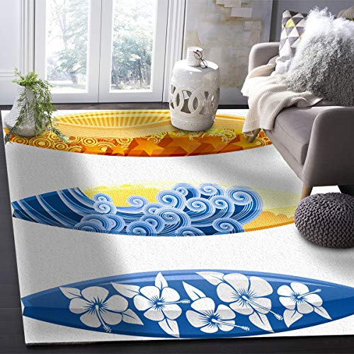 OUR WINGS Modern Area Rug,Surf Board 4 Feet by 6 Feet Indoor Area Rugs Living Room Carpets for Home Decor Bedroom Nursery Rugs