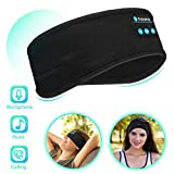 Bluetooth Sleep Headphones Eye Mask, Wireless Sports Headband Headphones with Detachable Stereo Thin Speaker for Sleeping, Sports, Meditation & Relax, Sports Headband (Black)