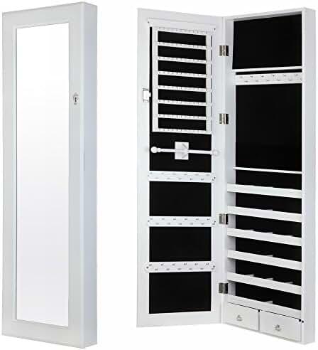 Homegear Modern Door/Wall Mounted Mirrored Jewelry Cabinet Organizer Storage White