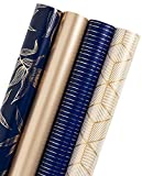 WRAPAHOLIC Gift Wrapping Paper Roll - Gold and Navy Print with Cut Lines for Birthday, Holiday, Father's Day, Baby Shower Gift Wrap - 4 Rolls - 30 inch X 120 inch Per Roll: more info
