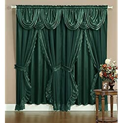 "Victorian Style Bombay Curtain Set 120""x84"" Green 2 Panel with lace on edge, sheer backing, Valance Window Treatment Drapery & Tie Backs"