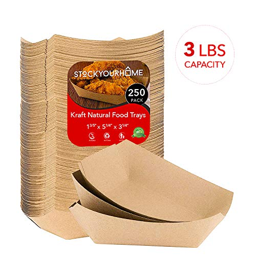 Paper Food Boats (250 Pack) Disposable Brown Tray 3 Lb - Eco Friendly Brown Paper Food Trays 5 x 3 - Serving Boats for Concession Stand Food