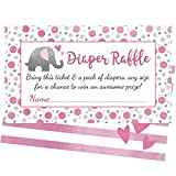 Pink Elephant Diaper Raffle Tickets - 50 Cards for Fun Girl Baby Shower Games