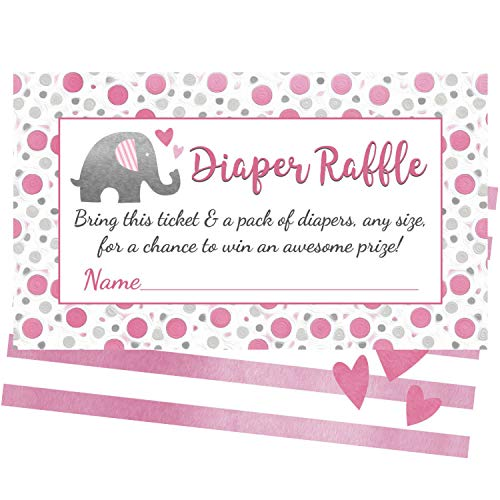 Pink Elephant Diaper Raffle Tickets - 50 Cards for Fun Girl Baby Shower Games ()