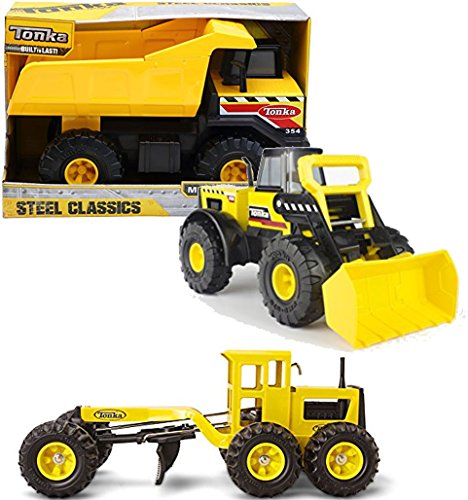 Bundle Includes 3 Items - Tonka Classic Steel Mighty Dump Truck Vehicle and Tonka 90697 Classic Steel Front End Loader Vehicle and Tonka Steel Grader Vehicle
